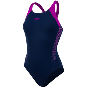 speedo Boom Splice Muscleback Swimsuit Women Navy 34/Diva